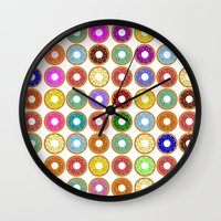 donuts Wall Clocks featuring Donuts!! by Ron Trickett