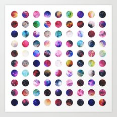 Rainbow Nebula Galaxy Girly Polka Dots Pattern Art Print