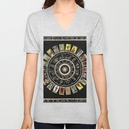 The Major Arcana & The Wheel of the Zodiac Unisex V-Neck