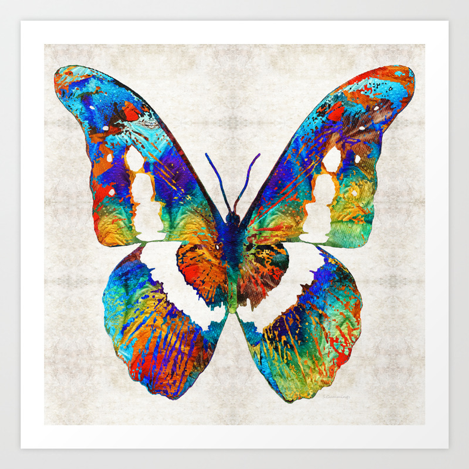 Colorful Butterfly Art By Sharon Cummings Art Print By