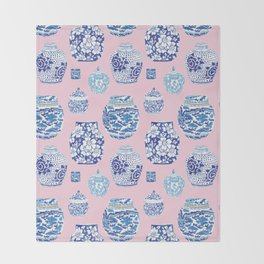 Chinoiserie Ginger Jar Collection No.7 Throw Blanket