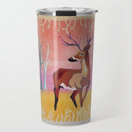 Floral Deer Acrylic Painting Travel Mug