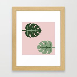 Tropical leaves Monstera deliciosa green and pink #monstera #tropical #leaves #floral #homedecor Framed Art Print