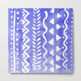 Loose boho chic pattern - ultramarine blue Metal Print