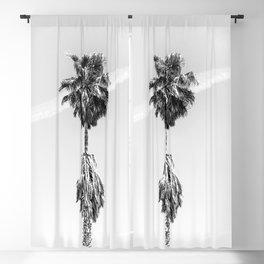 Malibu Beach Palm // Black and White California Beach Vibes Jetstream Sky Photograph Blackout Curtain