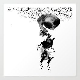 human in shower Art Print