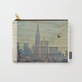 Sailor's View: Transamerica Pyramid, San Francisco, CA - Distressed Photo on Wood Carry-All Pouch