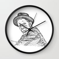 tom waits Wall Clocks featuring Tom Waits Sketch in Black by JennFolds5 * Jennifer Delamar-Goss