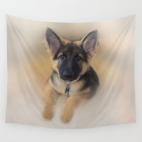 german Wall Tapestries featuring German Shepherd by Judith Lee Folde Photography & Art
