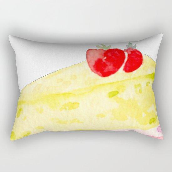 Lemon & Strawberry Cake Rectangular Pillow