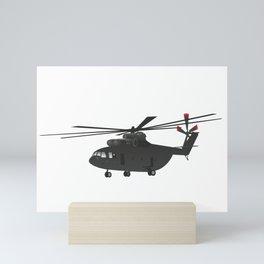 Black Heavy Helicopter Mi-26 Mini Art Print