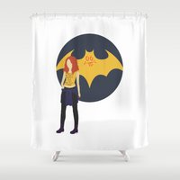 batgirl Shower Curtains featuring Batgirl Minimal by bananana