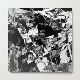 Fractured Black And White - Abstract, textured, black and white artwork Metal Print