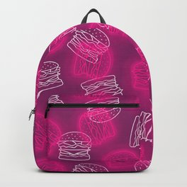 Neon Light Burgers on Pink Backpack