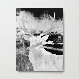 Stag in the shadows Metal Print