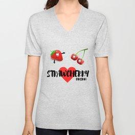 Strawberry cherry fruit fruit sweet vegan gift Unisex V-Neck
