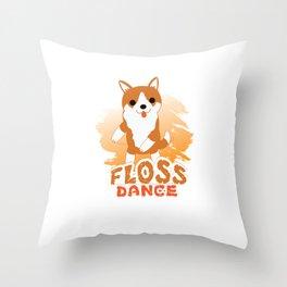 Floss Dance Move Corgi Throw Pillow