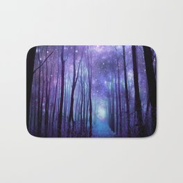 Fantasy Forest Path Icy Violet Blue Bath Mat