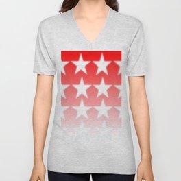 Red and White Stars, Faded Stars, Patriotic Unisex V-Neck