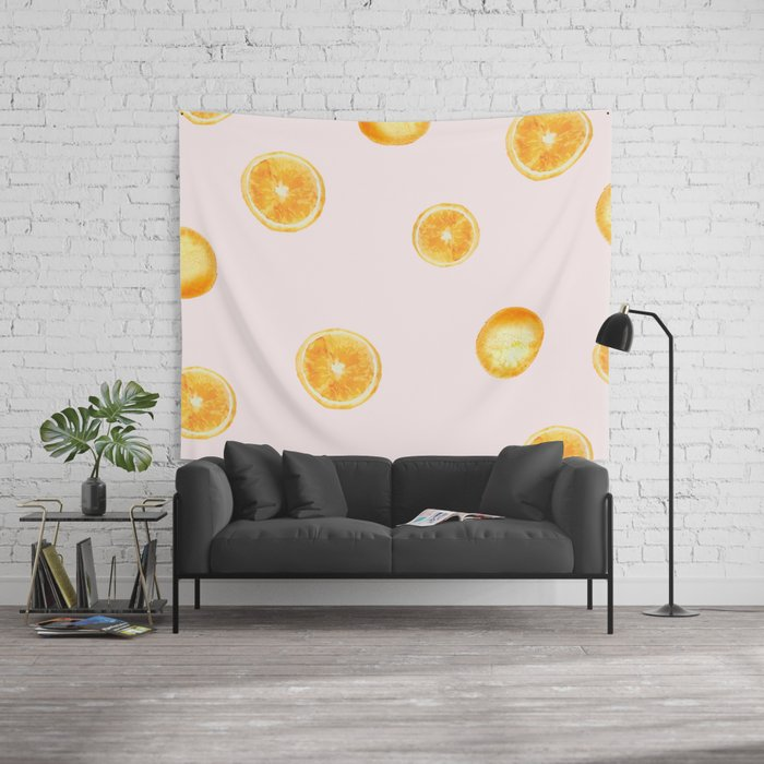 Orange watercolor Wall Tapestry