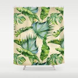 Green Tropics Leaves on Linen Shower Curtain