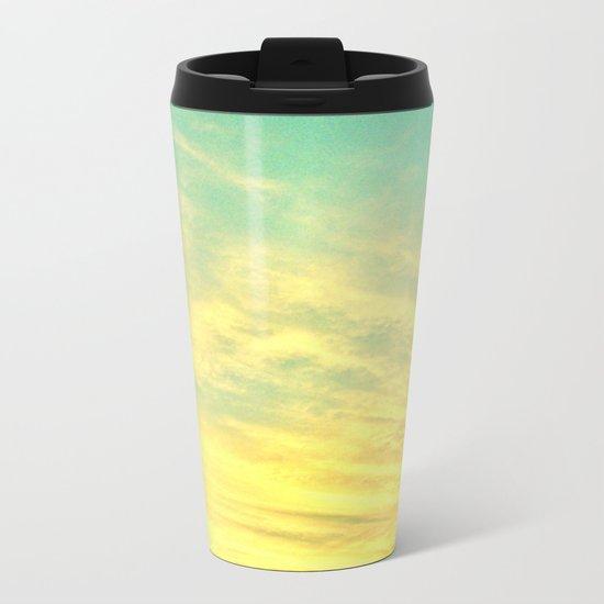 Green Yellow Sunset Metal Travel Mug