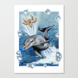 DOLPHIN & STARFISH PLAYING Canvas Print