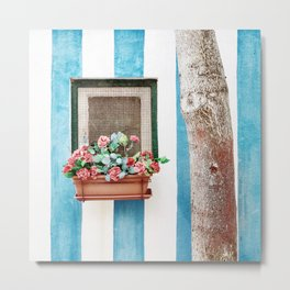 Mediterranean window with colorful flowers Metal Print