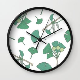 Green Ginko Branches Wall Clock