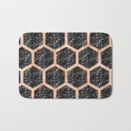 Black campari marble & copper honeycomb Bath Mat