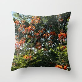 Red Flowers and Vibrant Trees Scenic Art Photo Throw Pillow