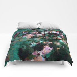 Contemporary Abstract Wall Art in Green / Teal Color Comforters