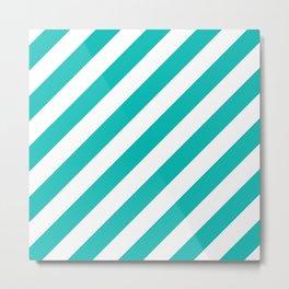 Diagonal Stripes (Tiffany Blue/White) Metal Print