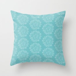 White Floral Medallion on Turqoise Background Throw Pillow
