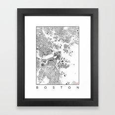 Boston Map Schwarzplan Only Buildings Framed Art Print