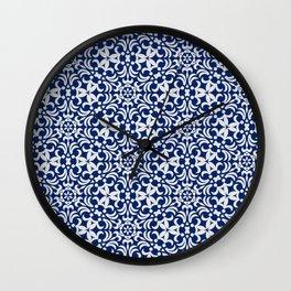Indigo pattern II Wall Clock