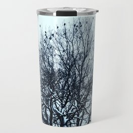 A flock of birds sitting on a tree on a winter day. Travel Mug