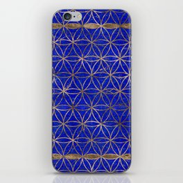 Flower of life pattern - Lapis Lazuli and Gold iPhone Skin