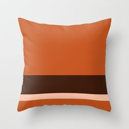 Solid Three-Tone Terracotta w/ Divider Lines - Art Abstract Illustraton Throw Pillow