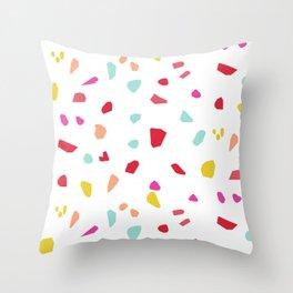 Lipstick And Petals - Modern Terrazzo Vector Pattern Throw Pillow