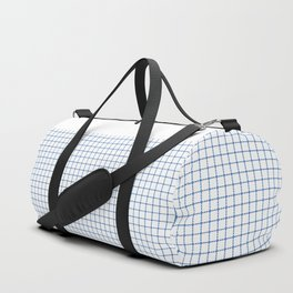 Dotted Grid Boarder Blue on White Duffle Bag