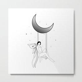 Fairy on a moon swing Metal Print