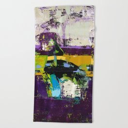 Controversy Prince Deep Purple Abstract Painting Modern Art Beach Towel