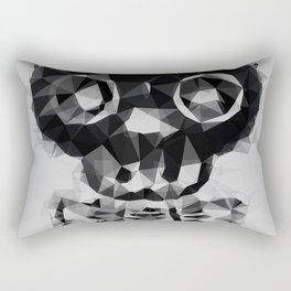 psychedelic skull and bone art geometric triangle abstract pattern in black and white Rectangular Pillow