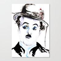 charlie chaplin Canvas Prints featuring Charlie Chaplin by Anastasia Efthias