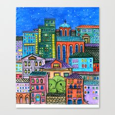 Doodled town at night Canvas Print