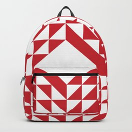Red Triangle Abstract Patchwork Backpack