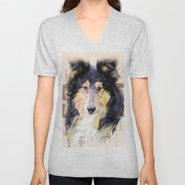 Rough Collie (Low Poly) Unisex V-Neck