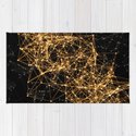 Shiny golden dots connected lines on black by guliveris