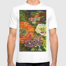 Watercolor Flowers and a Butterfly Mens Fitted Tee MEDIUM White